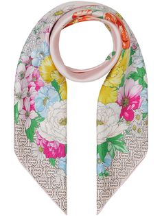 Burberry шарф с монограммой и цветочным принтом