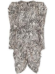 Isabel Marant платье с пышными рукавами и зебровым принтом