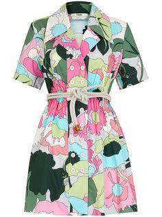 Fendi платье-рубашка с цветочным принтом и поясом