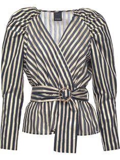 Pinko полосатая блузка с поясом