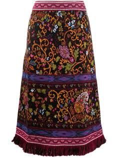 Etro трикотажная юбка миди с принтом пейсли