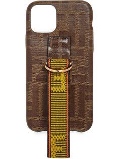 Fendi чехол для iPhone 11 Pro с ремешком и узором FF