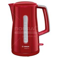 Чайник электрический пластиковый Bosch TWK 3A014, 1.7 л, 2.4 кВт, красный