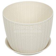 Горшок для цветов пластиковый Idea М3122 Вязание белый, 4.5 л
