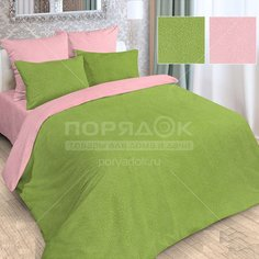 Постельное белье Love Story полутораспальное полисатин жаккард (простыня 150х215 см, 2 наволочки 70х70 см, пододеяльник 145х215 см) розово-зеленое