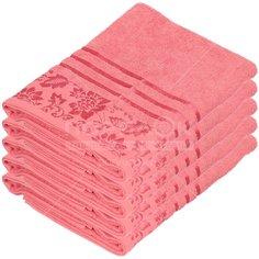 Полотенце банное, 50х90 см, Вышневолоцкий текстиль, 375 г/кв.м, цветы-листья, темно-розовое 310 Россия