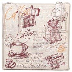 Чехол на стул Кофейная тема с завязками СТ-Ш, 36х36 см