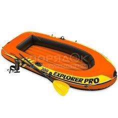 Лодка надувная Intex Explorer Pro 58358NP с веслами и насосом, 244х117х36 см