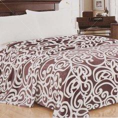 Плед Silvano полутораспальный (150х200 см) микрофибра, Бело-коричневый sp-03