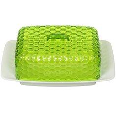 Масленка пластмассовая Альтернатива М5571 бело-зеленая, 7,2х12х18.5 см