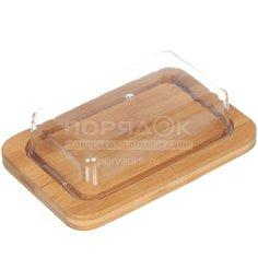 Масленка бамбуковая с пластиковой крышкой КТ-МС-01, 19х12.5х1.5/16х9.5х4.5