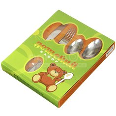Набор детских столовых приборов ДСН-4М23, 4 предмета (ложка, чайная ложка, вилка, нож)