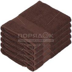 Полотенце банное, 50х90 см, Вышневолоцкий текстиль, 375 г/кв.м, бордюр, коричневое 101 Россия