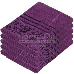 Полотенце банное, 70х140 см, Вышневолоцкий текстиль, 375 г/кв.м, цветы-листья, темно-фиолетовое 702 Россия