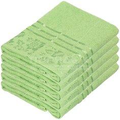 Полотенце банное, 50х90 см, Вышневолоцкий текстиль, 375 г/кв.м, цветы-листья, бледно-зеленое 530 Россия