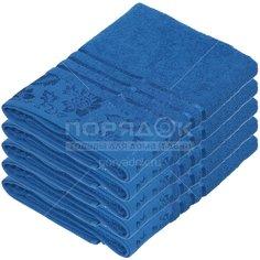 Полотенце банное, 70х140 см, Вышневолоцкий текстиль, 375 г/кв.м, цветы-листья, синее 619 Россия