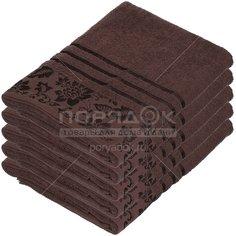 Полотенце банное, 50х90 см, Вышневолоцкий текстиль, 375 г/кв.м, цветы-листья, коричневое 101 Россия