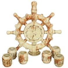 Набор для спиртного, 7 предметов (графин, стопка 6 шт), Штурвал малахит-золото