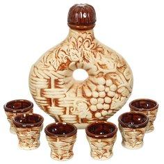 Набор для спиртного, 7 предметов (графин, стопка 6 шт), Виноград