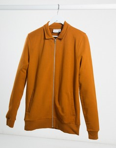 Темно-оранжевая облегающая трикотажная куртка Харрингтон ASOS DESIGN-Коричневый