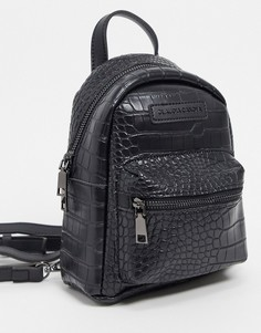 Черный рюкзак с карманом и крокодиловым рисунком Claudia Canova
