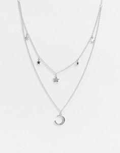 Серебристое ожерелье с подвесками в виде звезд и месяца Olivia Burton-Серебряный