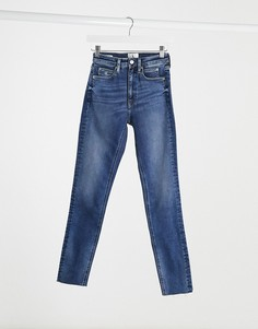 Синие джинсы скинни с завышенной талией Calvin Klein-Синий