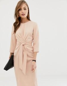 Нюдовоеплатье миди с запахом и завязками ASOS DESIGN-Розовый