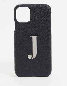 """Чехол для iphone 11 / XR с буквой """"J"""" Elie Beaumont-Черный"""