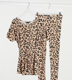 Пижама из футболки и леггинсов с леопардовым принтом ASOS DESIGN Maternity-Коричневый