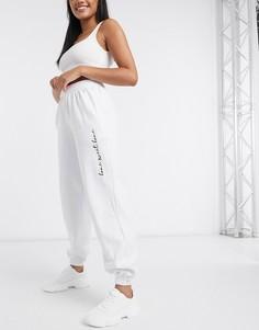 Белые джоггеры в стиле casual с надписью In The Style x Billie Faiers-Белый