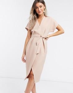 Пудрово-розовое платье миди с запахом и поясомCloset London-Розовый