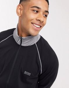 Черная куртка на молнии с логотипом BOSS bodywear-Черный
