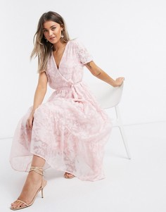 Розовое платье макси из органзы с цветочным принтом и объемными рукавами Vila-Розовый