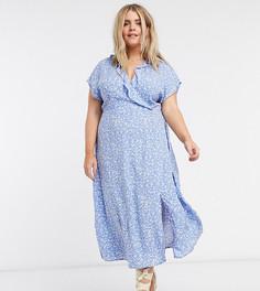 Синее платье миди с запахом и цветочным принтом New Look Curve-Синий