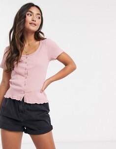 Розовая футболка на пуговицах Brave Soul-Розовый