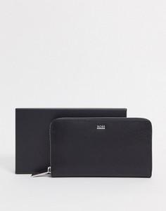 Черный бумажник из сафьяновой кожи на молнии Hugo Boss