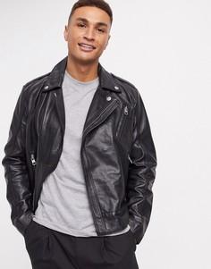Кожаная куртка Calvin Klein Jeans-Черный
