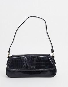 Черная сумка на плечо в стиле 70-х с эффектом крокодиловой кожи ASOS DESIGN-Черный