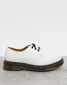 Белые туфли на плоской подошве с3 парами люверсовDr Martens1461-Белый