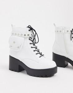 Белые ботинки из искусственной кожи на шнуровке с карманом сбоку Koi Footwear-Белый