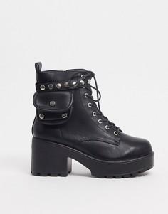 Черные ботинки из искусственной кожи на шнуровке с карманом Koi Footwear-Черный цвет