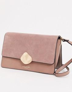 Сумка через плечо с контрастными вставками и пряжкой Luella Grey-Розовый