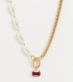 Комбинированное ожерелье с жемчужными вставками и подвеской-камнем Reclaimed Vintage-Золотой