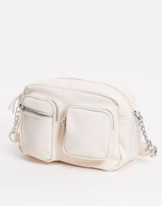 Белая сумка через плечо Pieces-Белый