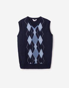 Синяя жилетка с узором аргайл для мальчика Gloria Jeans