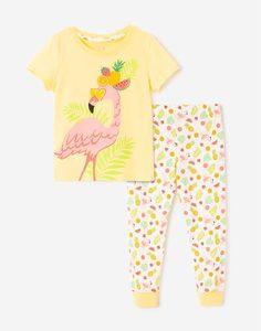 Желтая пижама с принтом для девочки Gloria Jeans