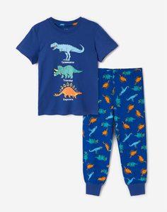 Синяя пижама с динозаврами для мальчика Gloria Jeans