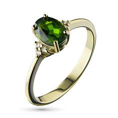 Кольцо из желтого золота с бриллиантом и хромдиопсидом э0301кц04201963 ЭПЛ Якутские Бриллианты