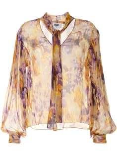 MSGM прозрачная блузка с абстрактным принтом
